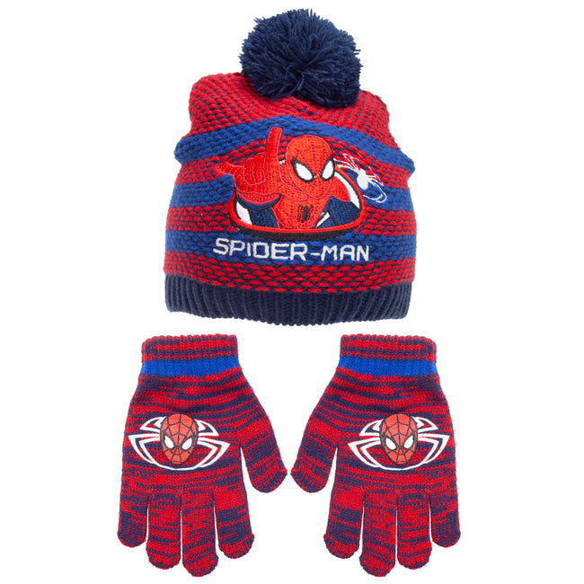 Navy-Red - Front - Spider-Man Childrens-Kids Striped Beanie Bobble Hat And Gloves Set