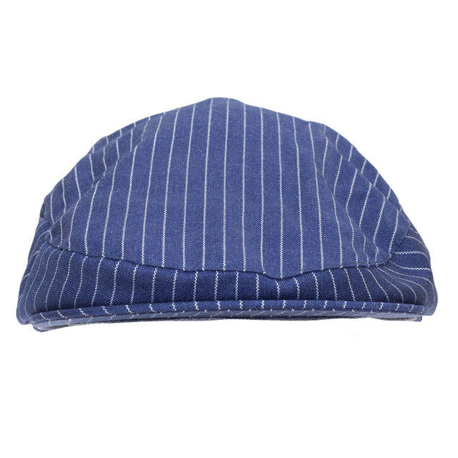 Navy - Back - Tom Franks Mens Striped Flat Cap