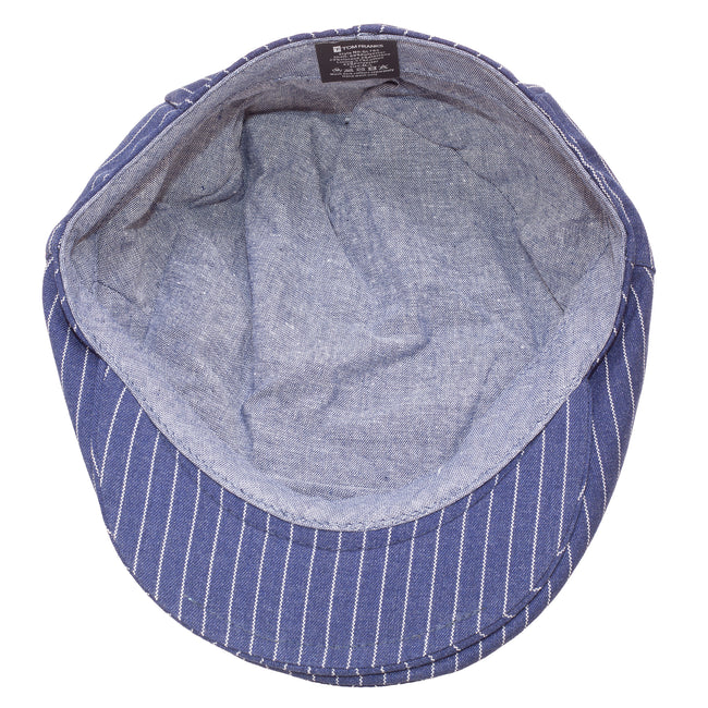 Navy - Side - Tom Franks Mens Striped Flat Cap