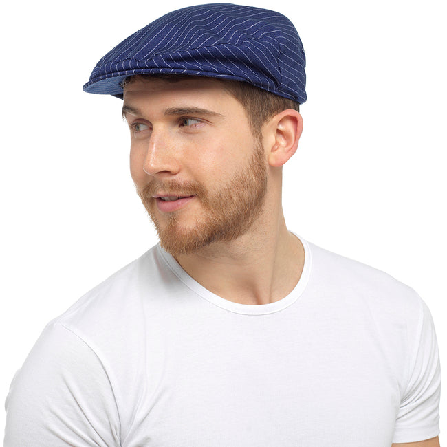 Navy - Lifestyle - Tom Franks Mens Striped Flat Cap