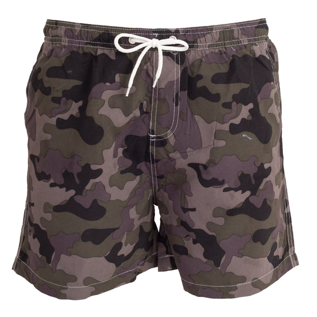 Camo - Front - Tom Franks Mens Camo Printed Swim Shorts