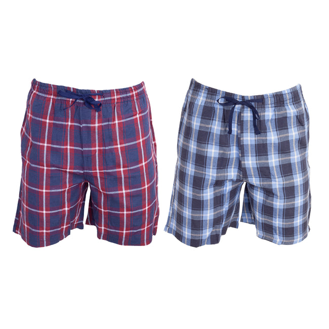 Blue-Red - Front - Foxbury Mens Checked Pajama Shorts (Pack Of 2)