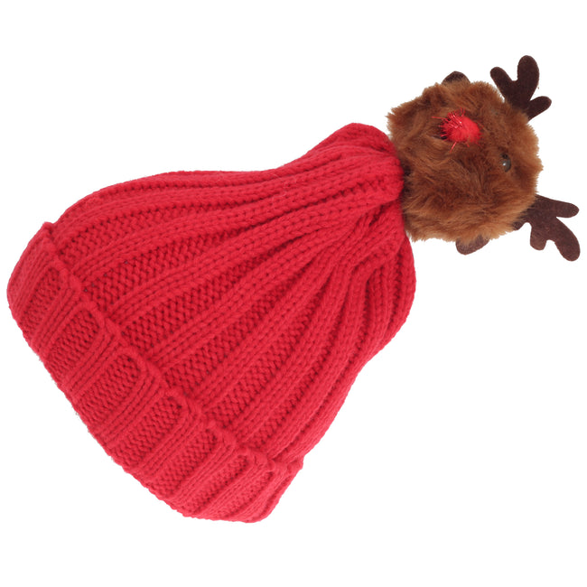 Red - Back - Foxbury Womens-Ladies Christmas Rudolph Knitted Hat