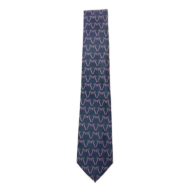 Navy-Candy Canes - Front - ProClimate Mens Christmas Tie