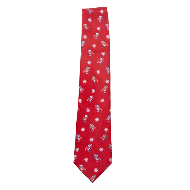 Red-Christmas Penguins - Front - ProClimate Mens Christmas Tie