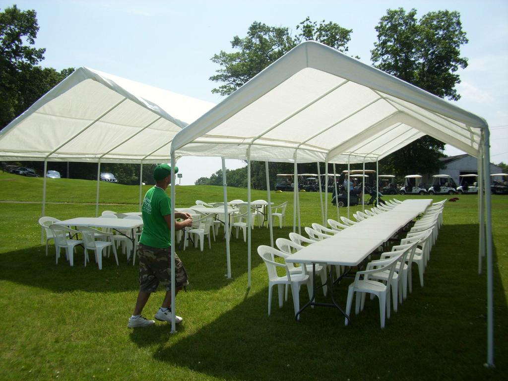 Party is Ready With 2 Quictent Upgraded Galvanized 10 x 20 ft. White Carport