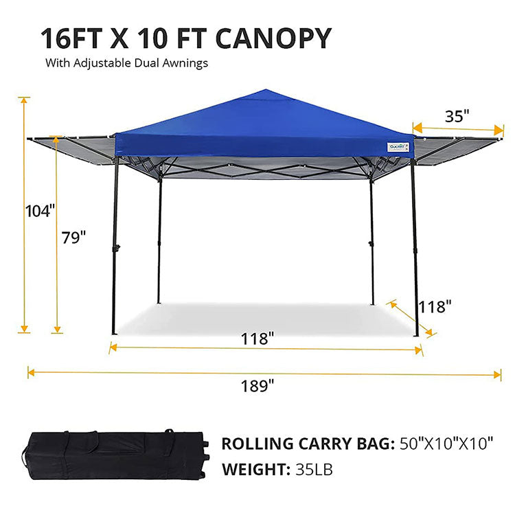 16' x 10' Pop Up Canopy with Awnings
