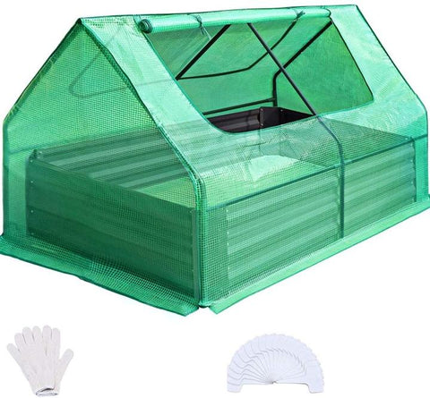 """Quictent 49''x37''x36"""" Galvanized Steel Garden Bed with Cover-Green"""