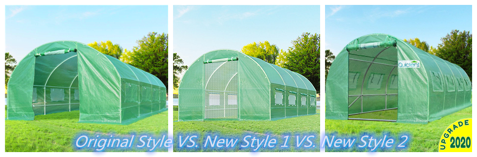 Comparison of Quictent 20' x 10' x 7' greenhouse: Basic, New Style 1, New Style 2