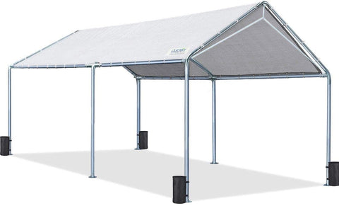 Qucitent Upgraded 20' x 10' Heavy Duty Carport-Gray