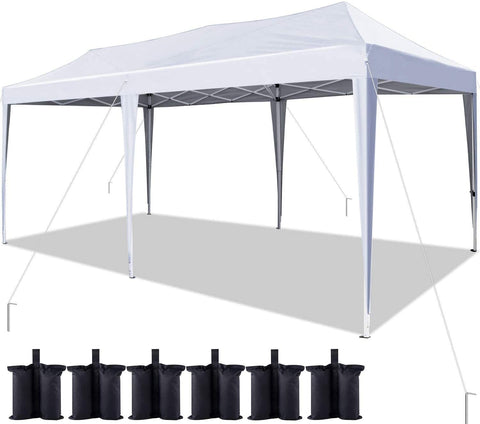 Quictent 10'x20' Easy Pop up Canopy Tent with 6 Weight Bags (White)