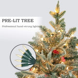 7.5' Flocked Artificial Christmas Tree with Berries 750 LED Lights