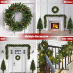 Christmas Lighted Trees Garland Wreath Berries