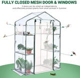 "Quictent 56"" x29"" x77"" Mini Greenhouse with Mesh Door 2 Windows&6 Shelves-Clear"