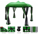 Hexagon Metal With Mosquito Netting Waterproof Green Gazebo
