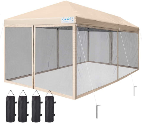 10' x 20' Pop Up Screen Canopy with Netting-Tan