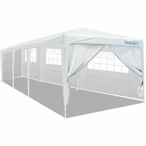 Qucitent 10' x 30' Party Tent With 3 Window Sides and 2 Zipper Sides-White
