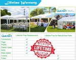 Warranty for Quictent 10' x 30' White Party Tent With 3 Window Sides and 2 Zipper Doors