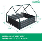"Quictent 49''x37''x36"" Galvanized Steel Garden Bed with Cover-Green"