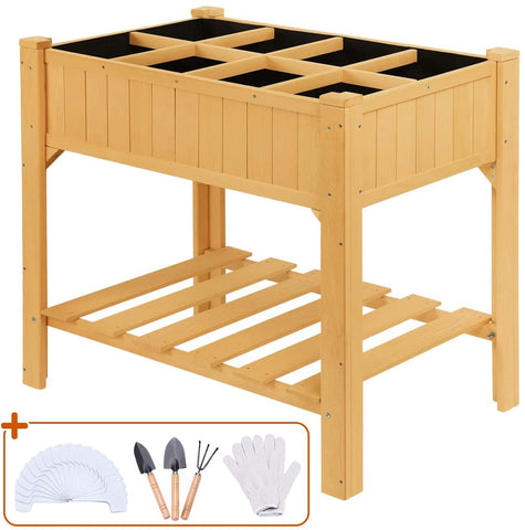 "Quictent 35''x24''x35"" 8 Grids Raised Wooden Garden Bed with Legs"