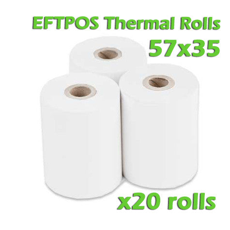 EFTPOS Thermal Paper Roll - 57 x 35mm - Box of 20 - ONLINEPOS