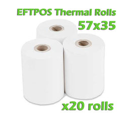 EFTPOS Thermal Paper Roll - 57 x 35mm - Box of 20