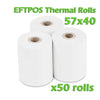 EFTPOS Thermal Paper Roll - 57 x 40mm - Box of 50 - ONLINEPOS