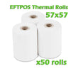 EFTPOS Thermal Paper Roll - 57 x 57mm - Box of 50