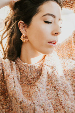 CRESCENT PEACH EARRINGS - Opal's Mae Modest Clothing Boutique