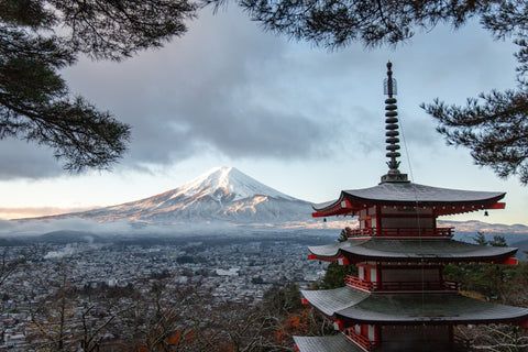 Mt. Fuji is seen from the distance with a summit of one of the temple buildings. Fuji-san is snow capped.