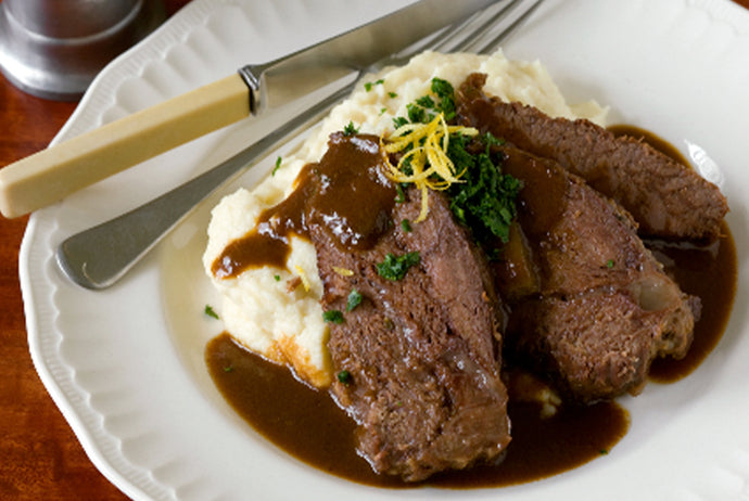 Braised Beef Cheeks with Celeriac Puree & Jus