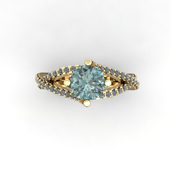 Teal Blue Diamond ring - eklektic jewelry studio