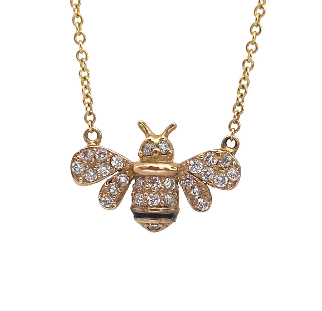 Diamond Bee Necklace - eklektic jewelry studio