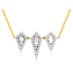 14ky Diamond Necklace with Triangular Pendants - eklektic jewelry studio