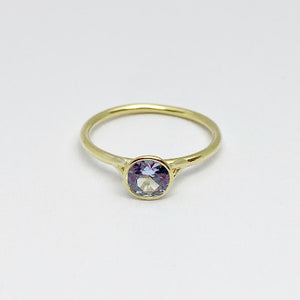 18ky Synthetic Blue Spinel Bezel Ring - eklektic jewelry studio