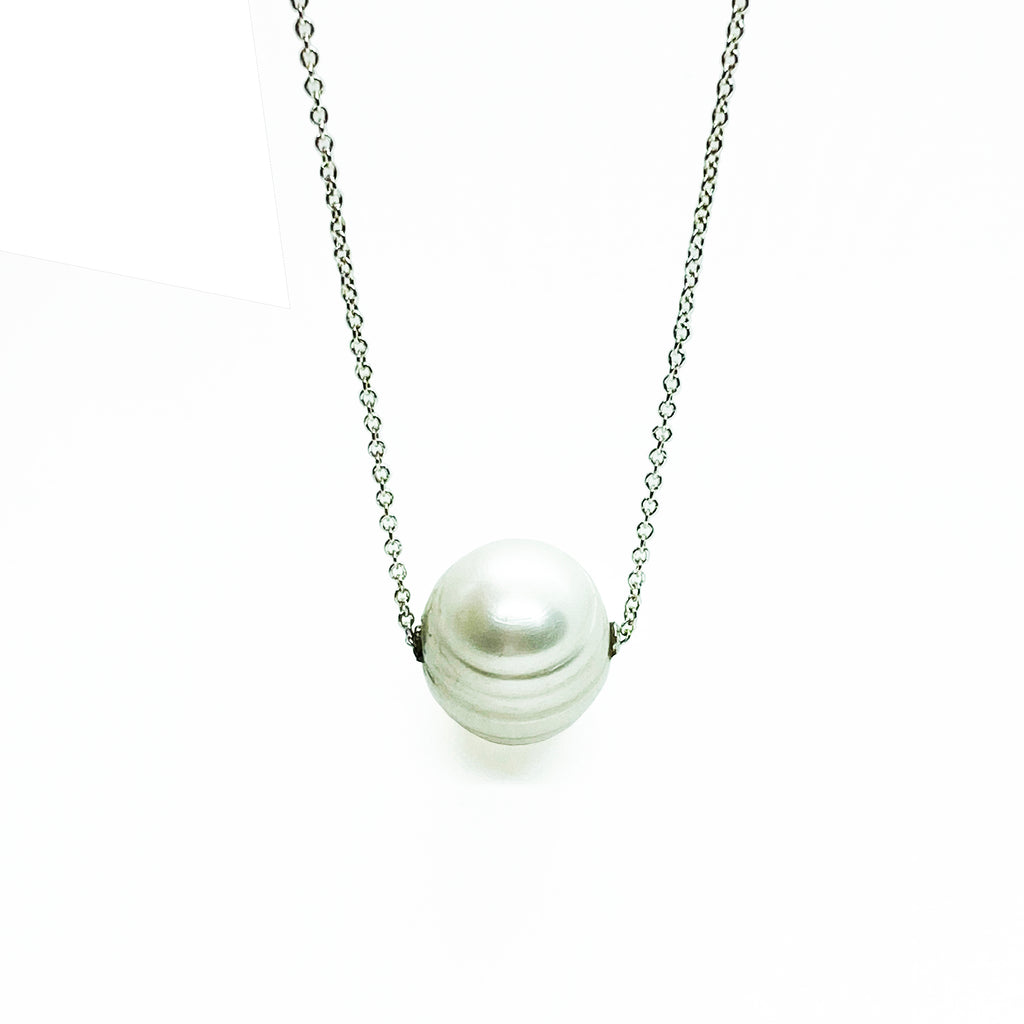 Silver White Pearl Slide Necklace - eklektic jewelry studio