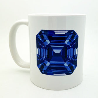 Coffee Mug - Blue Asscher Cut Gem - eklektic jewelry studio