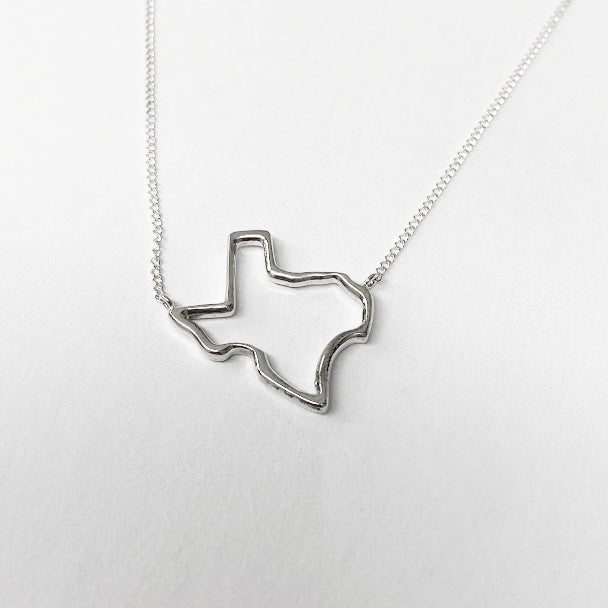 Silver Texas State Necklace - eklektic jewelry studio