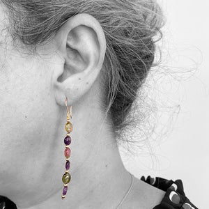 Multicolor Tourmaline and Gold Beads Earrings - eklektic jewelry studio