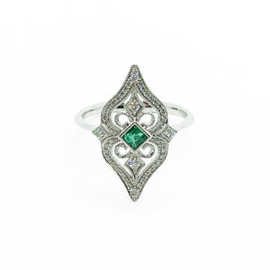 18kw Diamond and Emerald Ring - eklektic jewelry studio