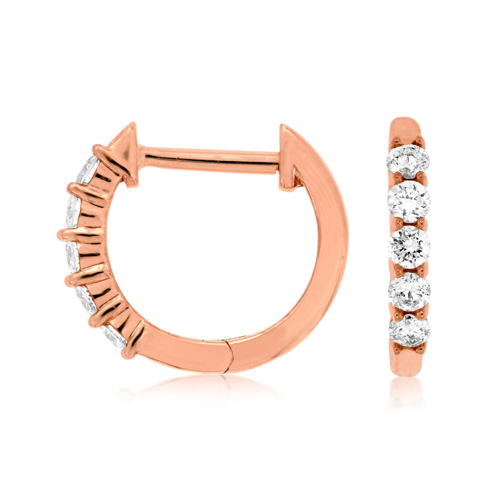 14k Rose Diamond Hoop Earrings - eklektic jewelry studio