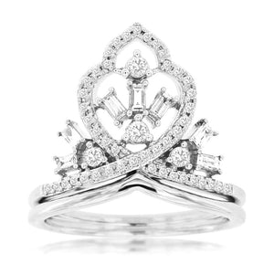 14kw Diamond Large Crown Ring - eklektic jewelry studio
