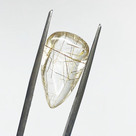 Rutilated Quartz, Tear Drop Cabochon - eklektic jewelry studio