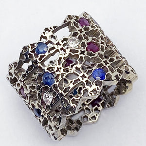 14kw Filigree ring with Precious Stones - eklektic jewelry studio
