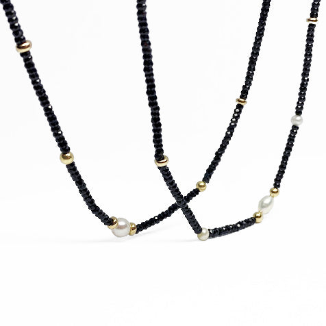 14k  Black Spinel and Pearl Necklace - eklektic jewelry studio