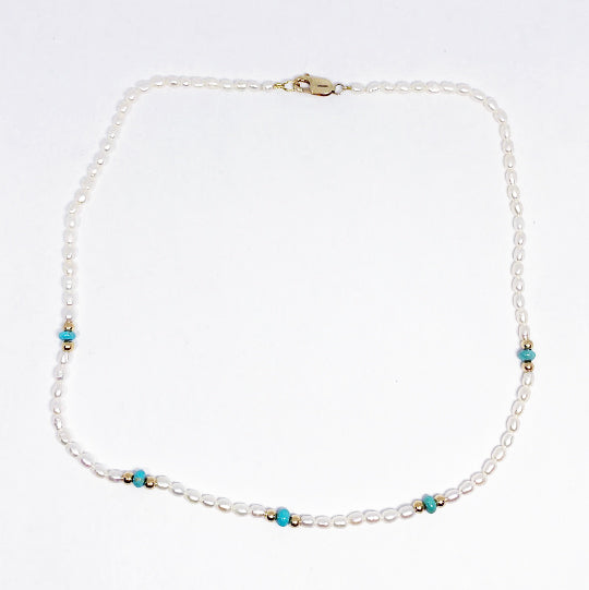 14ky Pearl and Turquoise Necklace - eklektic jewelry studio