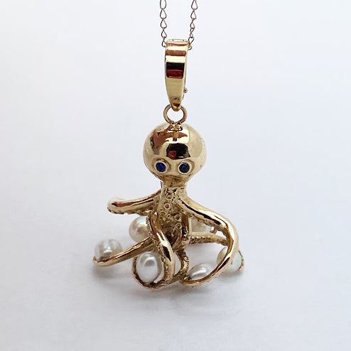 14ky Octopus Pendant w/ Pearls and Blue Sapphires Eyes - eklektic jewelry studio