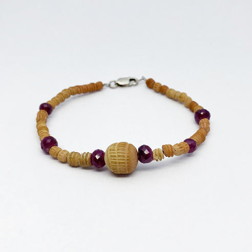 Clay and Ruby Beads Bracelet - eklektic jewelry studio