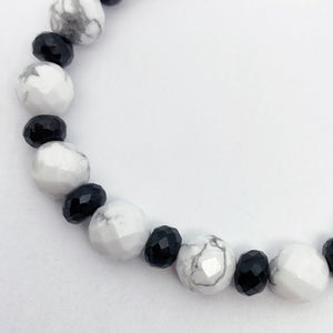 Silver Black Spinel and White Jasper Bracelet - eklektic jewelry studio