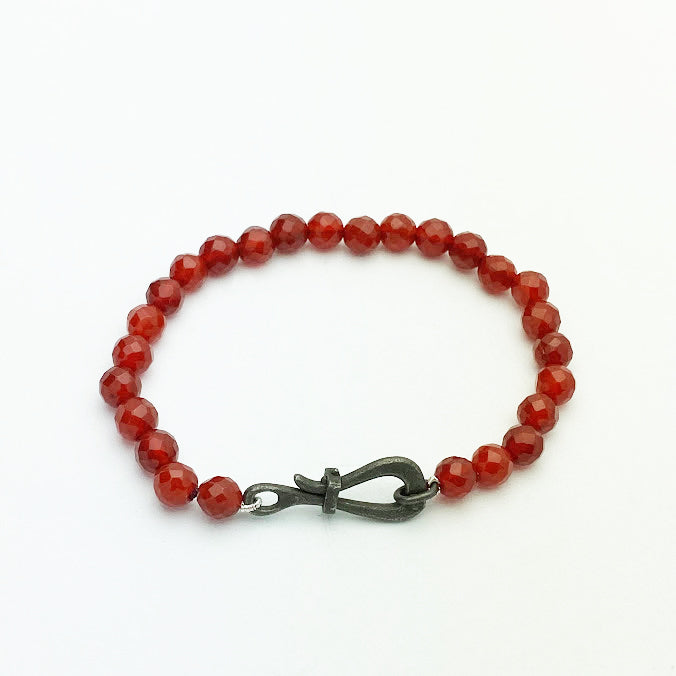 Faceted Carnelian Bracelet with oxidized silver yacht clasp - eklektic jewelry studio